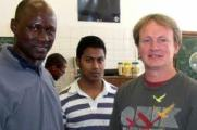 Adushan Pillay (center) with colleague Justin Omolo (left) and supervisor Carles de Koning